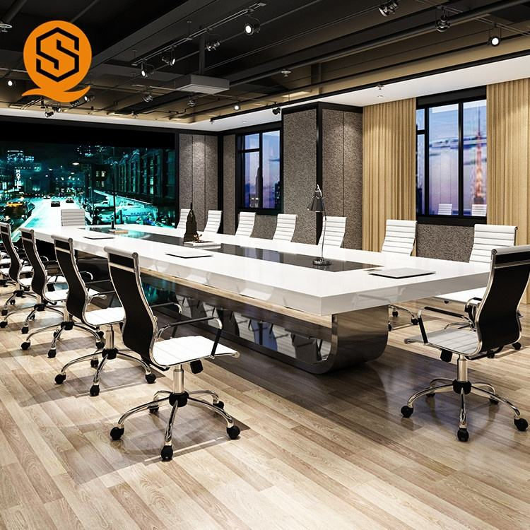 Rectangle long working desk modern meeting room table design office conference table