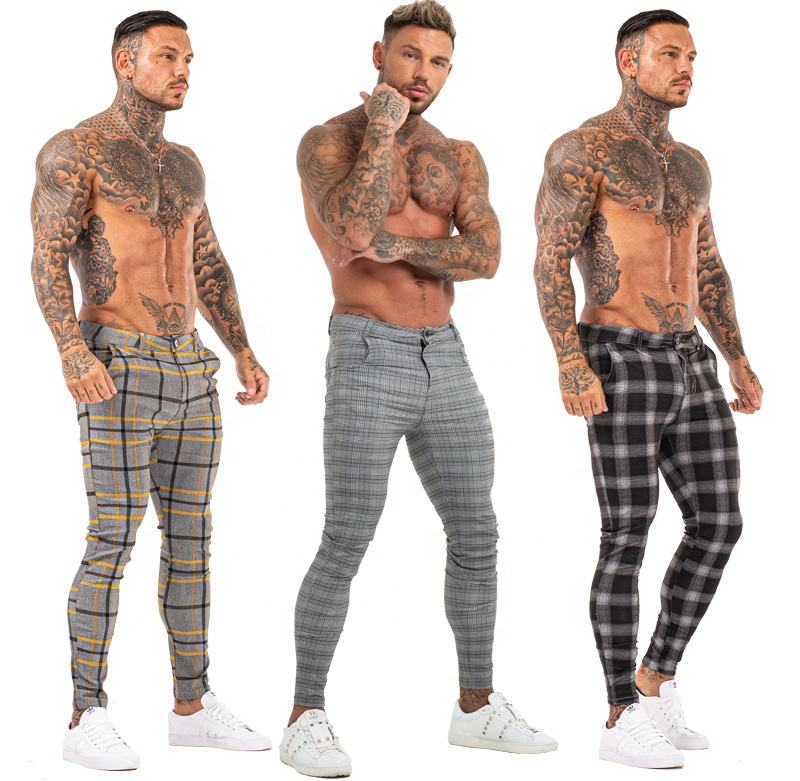 high skinny ankle fit chino pants grey plaid mens trousers
