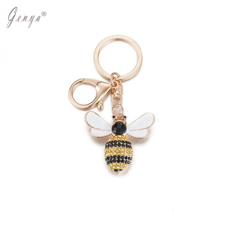 Genya Creative gifts Fashion rhinestone car pendant key chain small bee key chain bag pendant