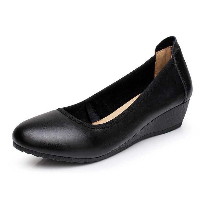 Comfort Black Leather Round Toe Wedges Hotel Formal Dress Office Shoes For Women Ladies