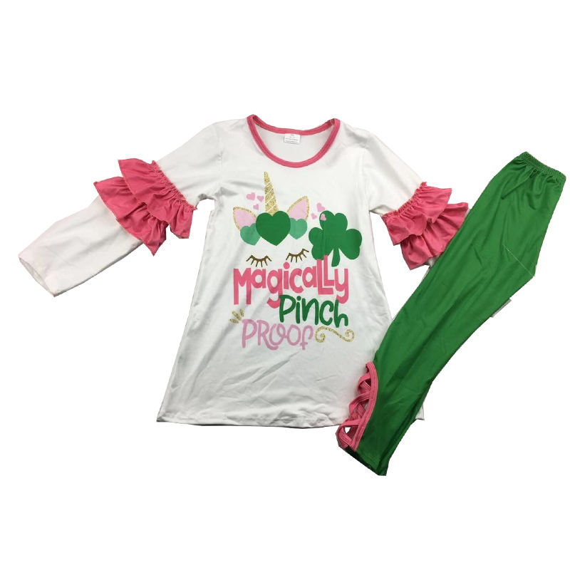 kids girl Saint Patrick's Day cute unicorn print set lovely cross pants ruffle sleeve outfits