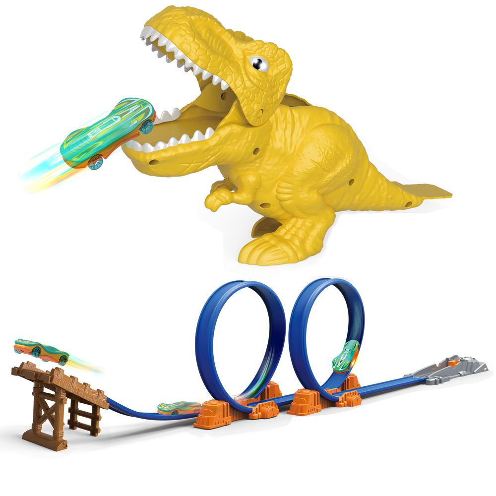 Huiye Dinosaur Track Toy Set Flexible Race Track Play set wheel Rotation with Die-cast Car Slot Car Race Track Toy