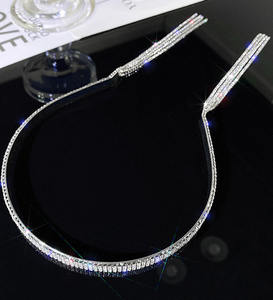 Fashion diamond tassel headband hairband wholesale long simple wild metal headband hair accessories for women
