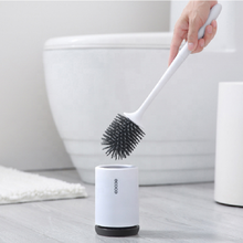 Amazon Hot Sales TPR Silicone Toilet Brush Floor-standing Wall Mounted Base Cleaning Brush with Soft Rubber Bristles and Holder
