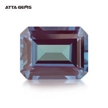 Synthetic Alexandrite Loose Gemstone Emerald Cut For Diy Jewelry Silver Mounting Fine Cutting Faceted Bead Stone Color Change