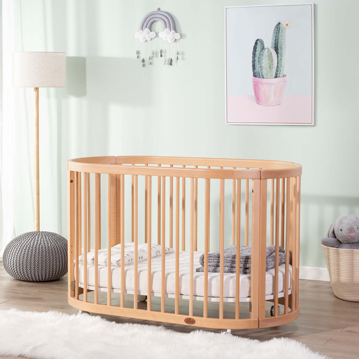 baby cribs multifunction OEM ODM factory beech wood natural round oval baby cot bed baby furniture modern wooden cot design