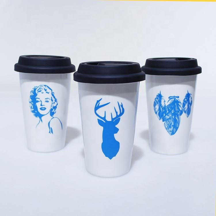 350ml double wall white ceramic travel mug with black silicone lid and logo printing