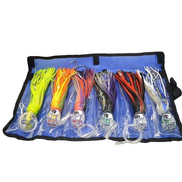SET of 6 Pusher style 9 inch Marlin / Tuna Mahi Dolphin Durado Wahoo Trolling Lures. Rigged and bag included tuna