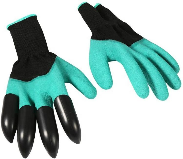 Excavation Sowing Pruning Polyester Coated Latex With 4 Plastic Claws Gardening Gloves Guantes
