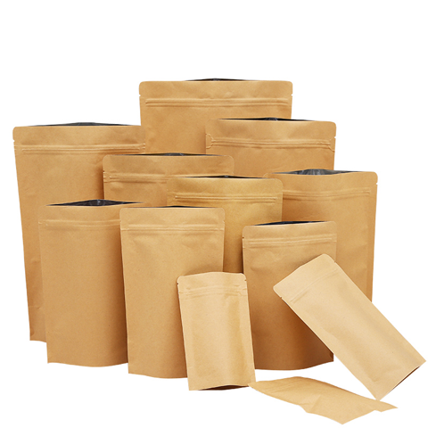 Kolysen wholesale custom logo brown kraft paper bags ziplock foil lined pouch without window