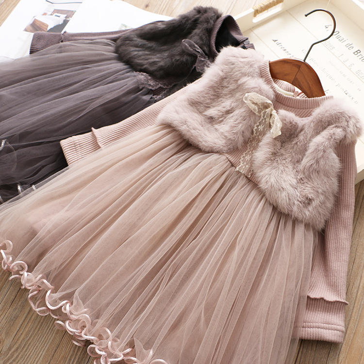 Children'S Fashion Princess Baby Plus Velvet Skirt Two Piece Girl Baby Winter Dress Casual Baby Girl Dresses