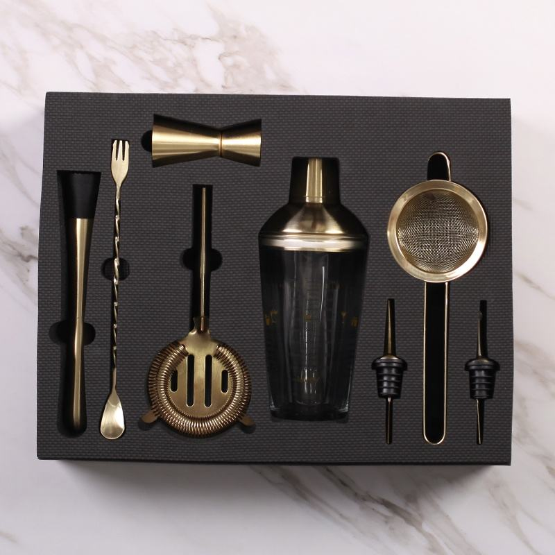 Brushed gold plated mixer barware 8 pieces bar set cocktail tool kit