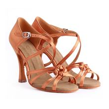 Suphini Dark Tan Satin Customizable Brand Latin Salsa Dance Shoes