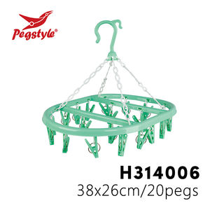 100% pp popular economic 20 peg oval plastic clothes hanger sock drying lingerie plastic hangers