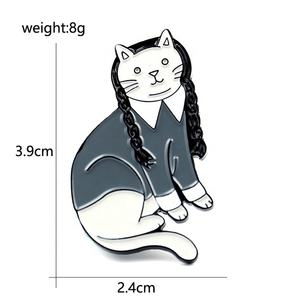 High quality metal cute ems cat badge lapel pin