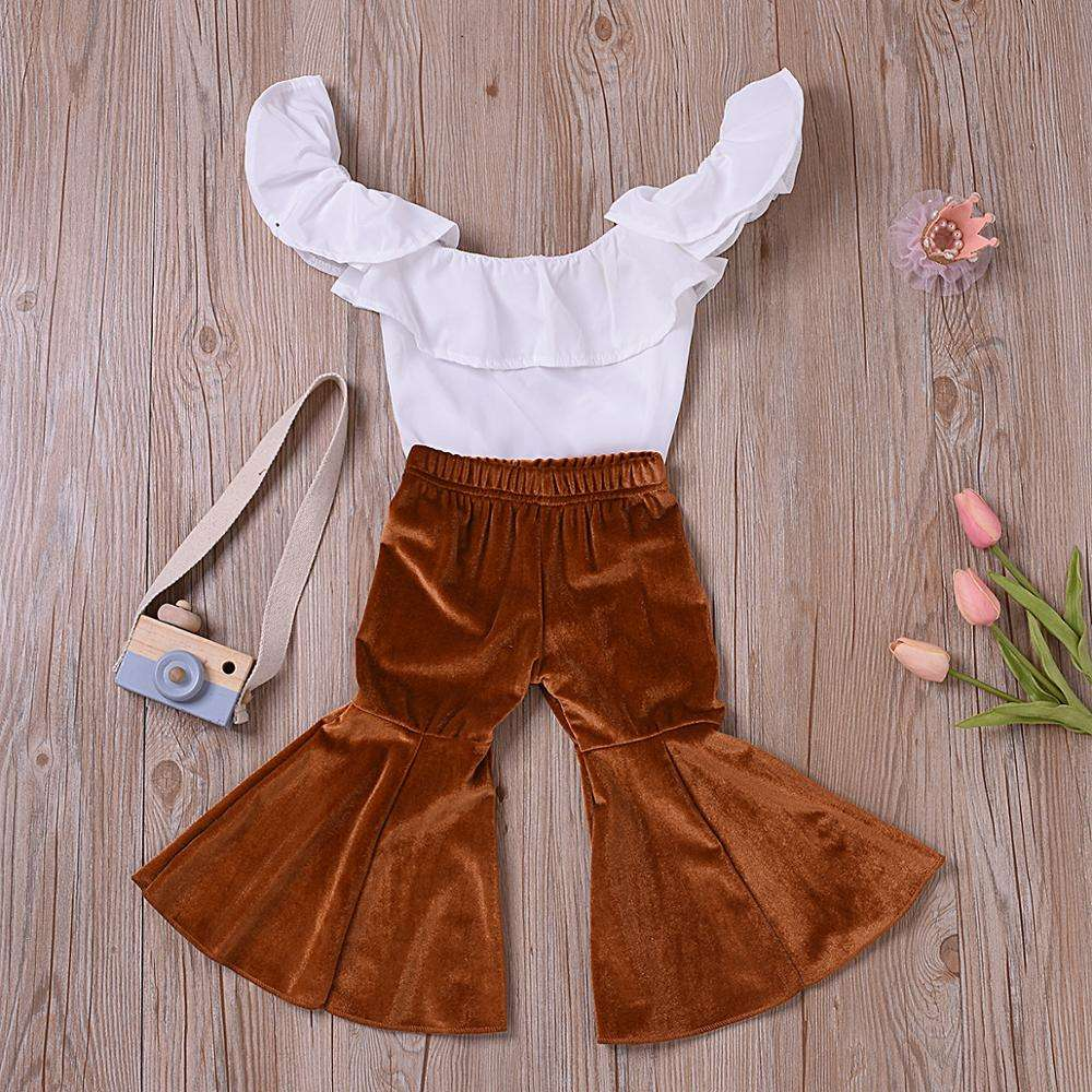 fashion girls boutique 2pcs Set Newborn Toddler Baby Girl Top+Long Pants Outfits Set Clothes