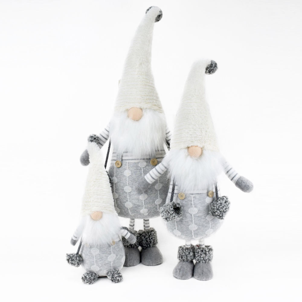 Fancy Xmas Gnome Christmas Ornaments Santa Claus White Plush Christmas Decorations Gnome Swedish Stuffed Gnome For Home Decor