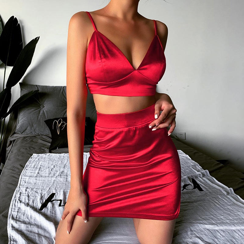 European and American deep v camisole dress skirt female ins sexy exposed navel body figure package hip skirt suit