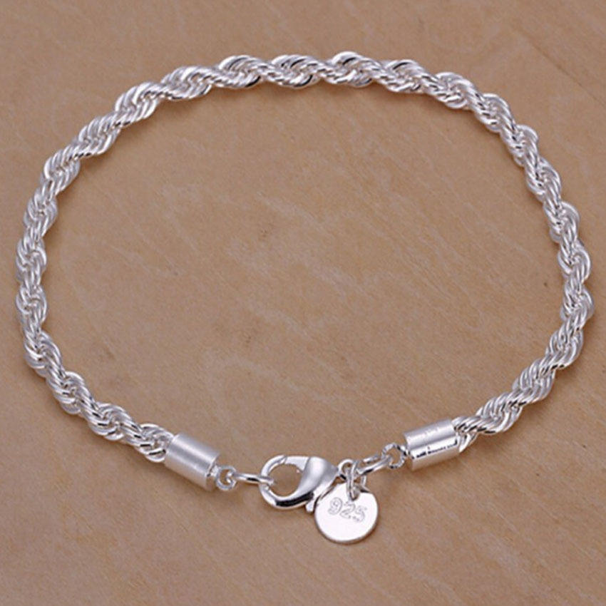 Wish cross border hot selling 4mm hemp rope bracelet fashion silver plated mahogany hand jewelry in Europe and America
