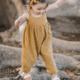 New Arrival Comfortable Linen Slip Bow Knot Long Toddler Jumpsuit Suspender For Kids