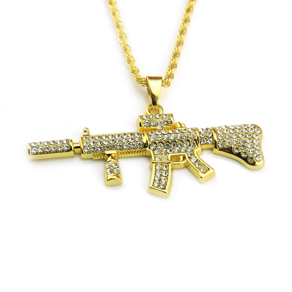 2020 Fashion Hip Hop AK47 Gun changeable Pendant with 30 inch Stainless Steel Rope Chain