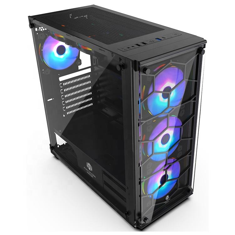 New Design PC Gamer Tower Glass Panel ATX Computer Gaming Case Cabinet