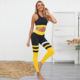 Women's color contrast sexy hip fitness pants set high waist hip tight pants quick-drying sports pants set