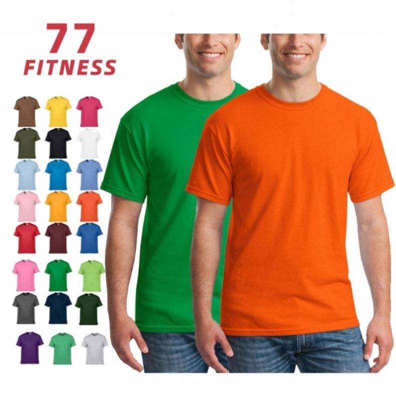 Men's Plain Gildan-T-Shirt 100% Cotton Round Neck Casual Oem Custom Logo Type Solid Plus Size Short Sleeve