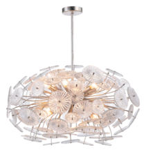 New Design Modern American Style Oval Clear Glass Silver Leaf Iron Ceiling Chandelier for Island Kitchen Decoration