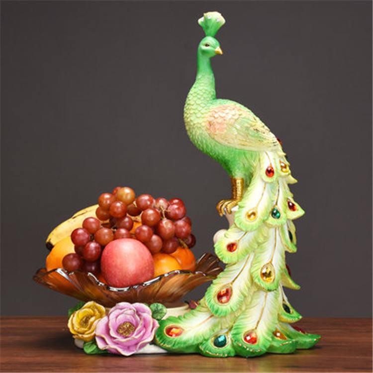 Diseño especial de la placa de la fruta de pavo real en forma de resina para la decoración de la <span class=keywords><strong>casa</strong></span> estatua