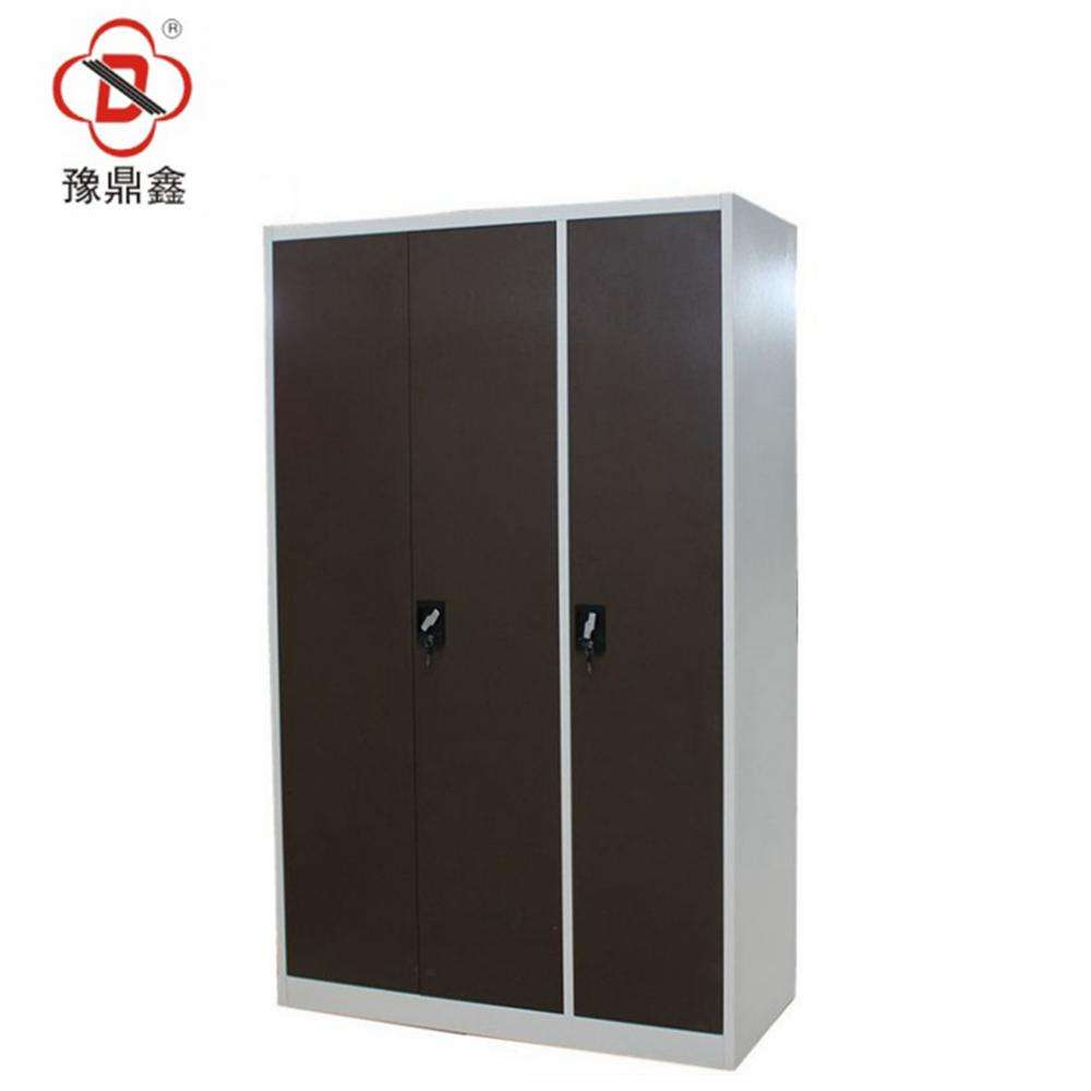 Steel 3 Door Chocolate Color Bedroom Wardrobe Design