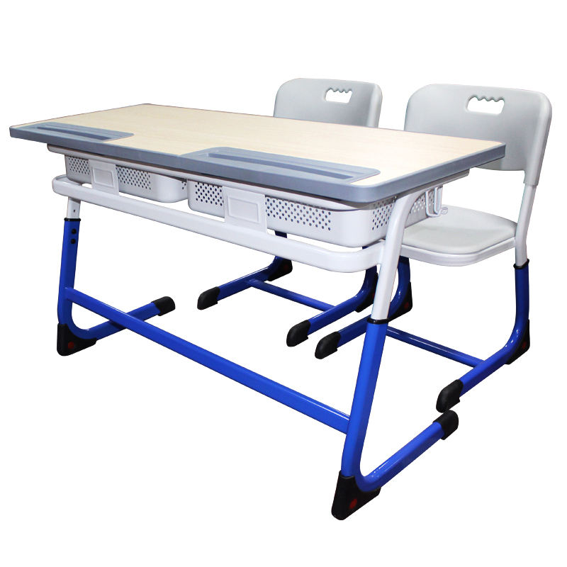 China furniture manufacturers double adjustable school student desk and chair