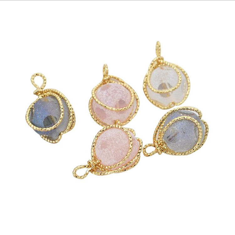 Electroplating non-fading pendant twisted opal frosted crystal necklace jewelry round necklace bracelet accessories pendant