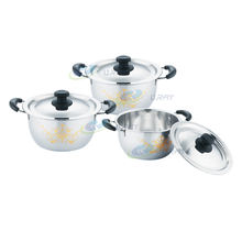 Hot selling professional 3pcs casserole-cookware-sets casseroles set pot stainless steel  with gold flower