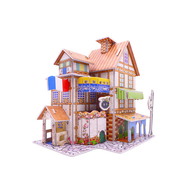 French resort villa doll house 3D paper Puzzle Model Construction 3D Jigsaw Puzzle Toys DIY kids toy 3d building puzzle