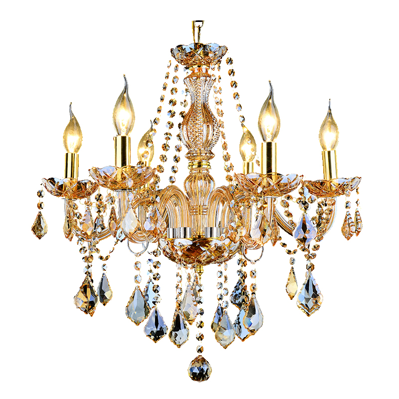 Luxury Glass Arm Crystal Chandeliers For High Ceilings Gold Pendant Lights Hotel