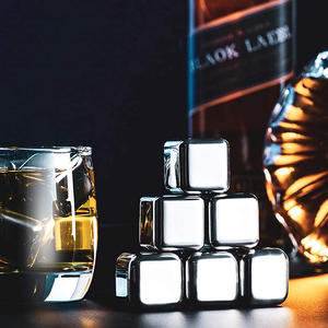 Whiskey Stainless Steel Reusable Chilling Wine Stone with Tongs And Storage Box Mini Customized Diamond Ice Cube