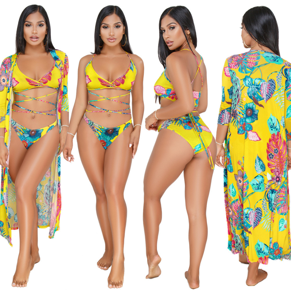 OEM Three Pieces Printing Sunscreen Swimwear Bathing Suit Women Beachwear Bikini With Cover Up Swimsuits