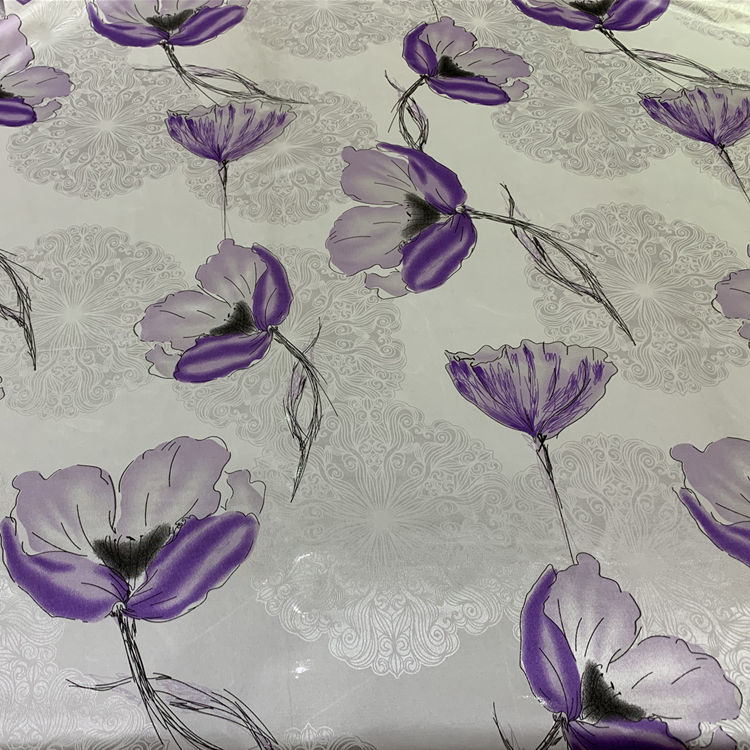 Wholesale white base flowers pattern Printing tricot polyester pongee fabric for mattress protector
