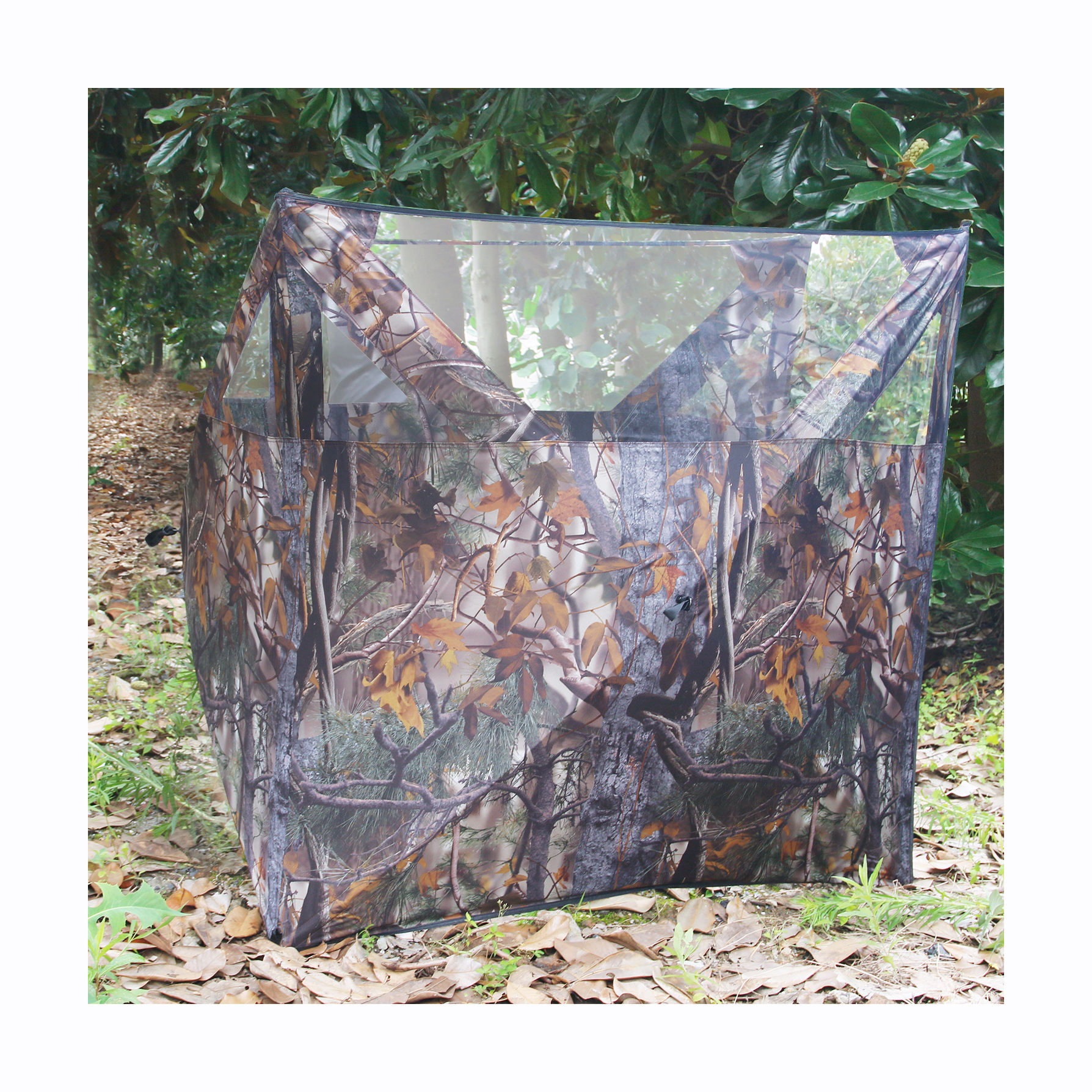 Wholesale Quick Setup Foldable Steel Frame Three Sides Camouflage Hunting Blind with Pegs See-Through Mesh