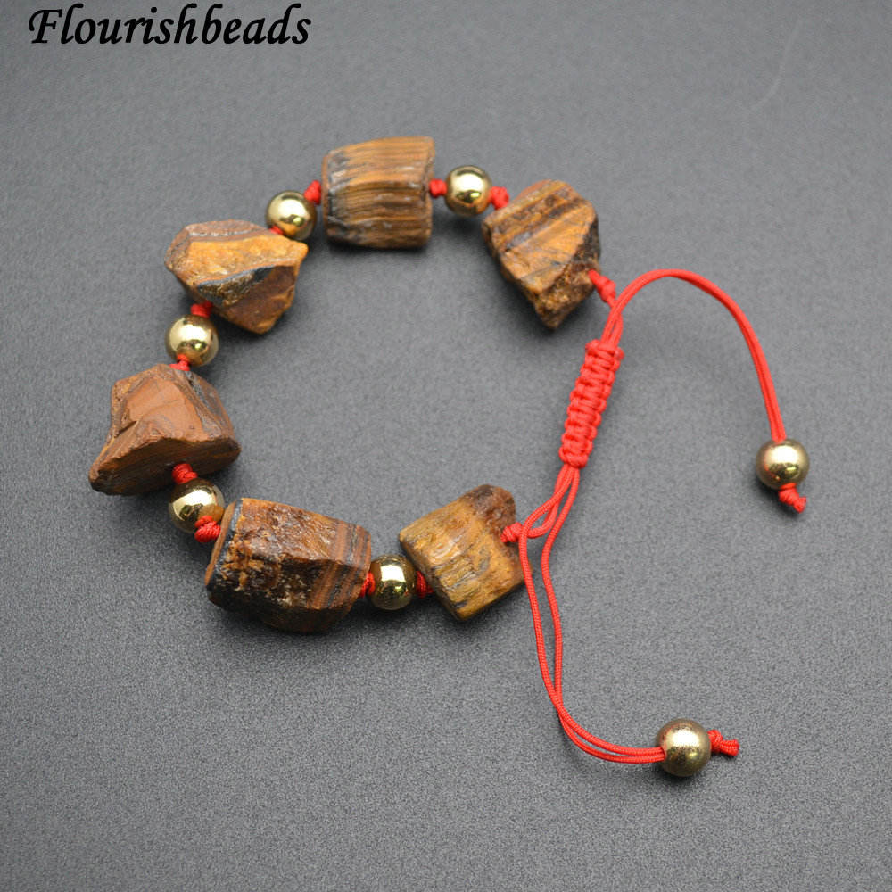 Chunk Rough Tiger Eye Stone Nugget Beads Chinese Knotted Bracelet Fashion Woman Man's Jewelry