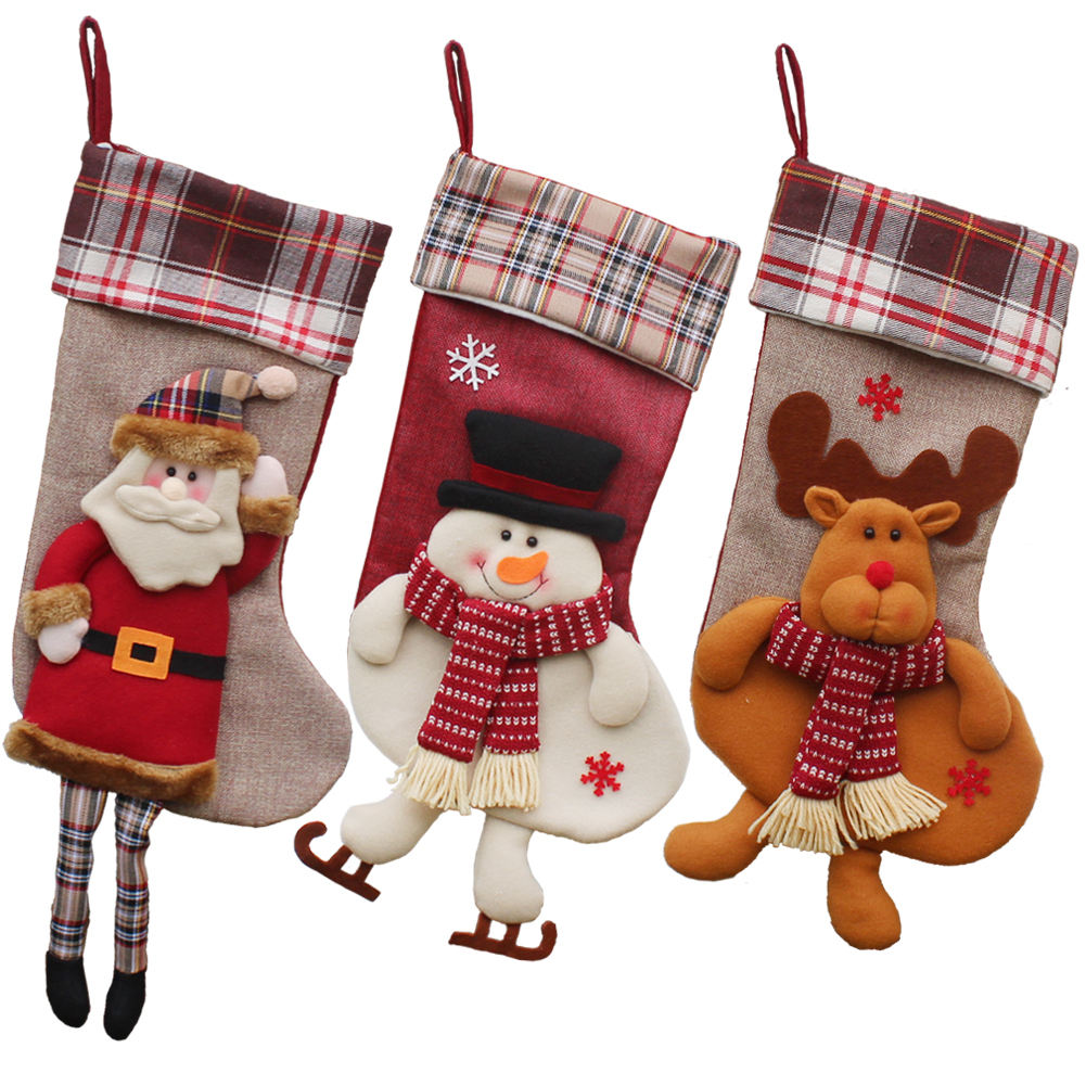Cotton Christmas/Xmas stockings/socks pendant tree decoration/gift wrapping/package/Home ornaments