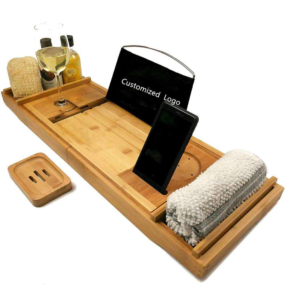 New Design Expandable Bamboo Bathtub Caddy- Bamboo Bath Tub Caddy Tray With Phone And Wine Glass Holder