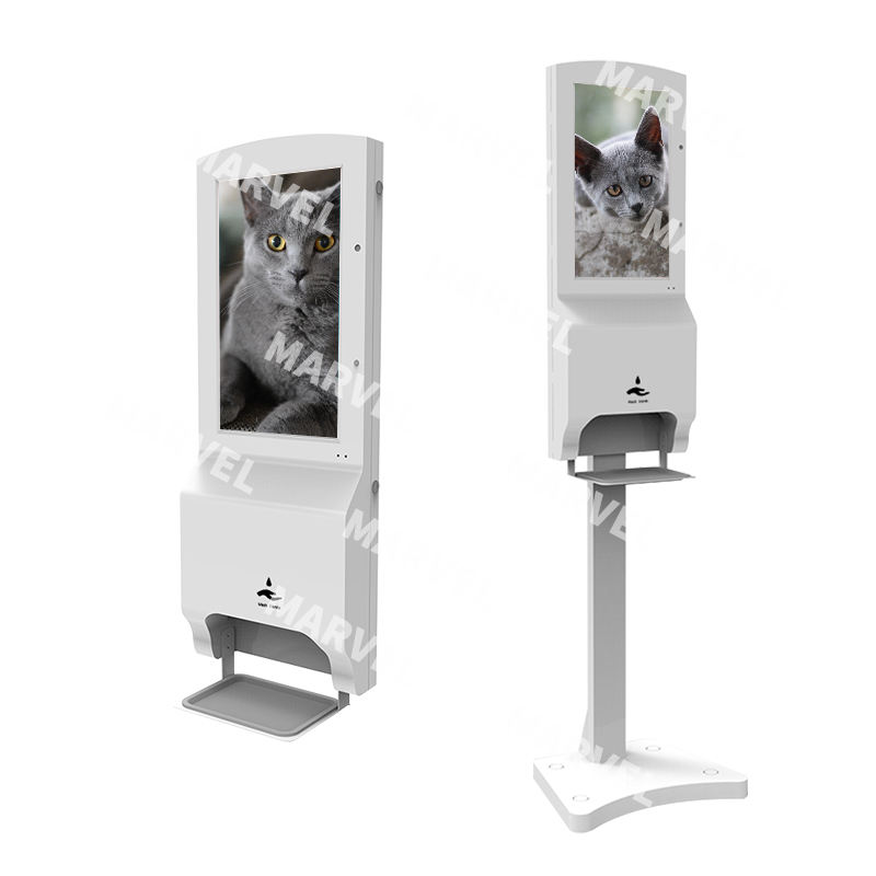 Sanitizing thermometer kiosk machine stand advertising digital signage with hand sanitizer dispenser