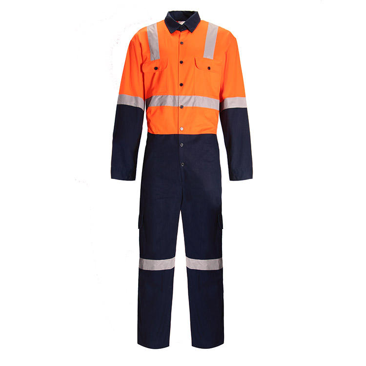 OEM design blue work suit with reflective tape working uniform work wear coverall suit for welding winter