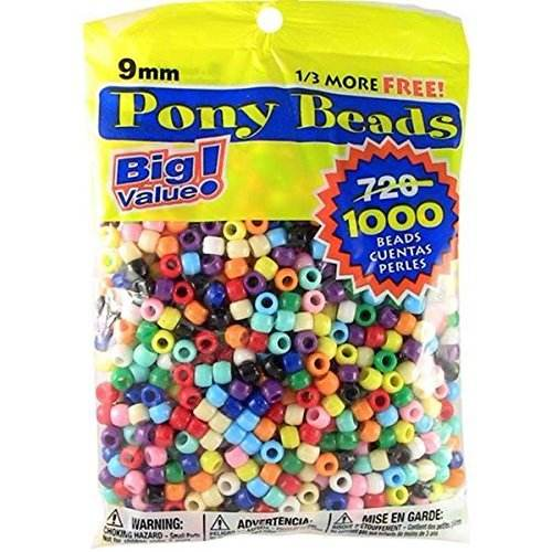 Big Value Plastic 9mm 1000 Piece Opaque Color Pony Beads Seed beads Multicolor