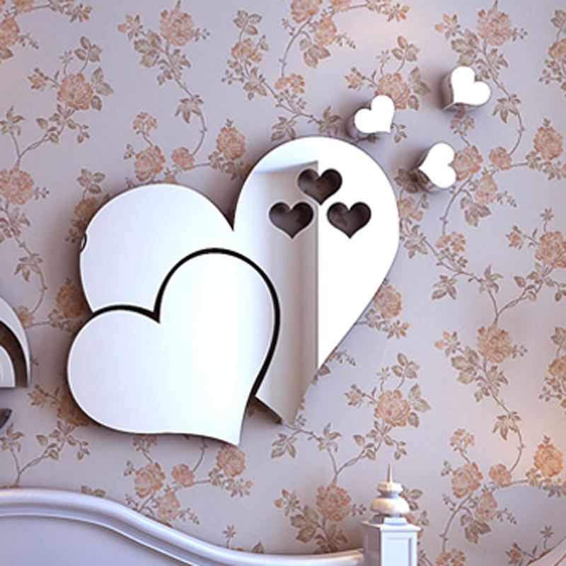 Set of 5 Self Adhesive Tiles Wall Stickers High Gloss Room Home Art Mirror Sticker Heart shape environmentally friendly