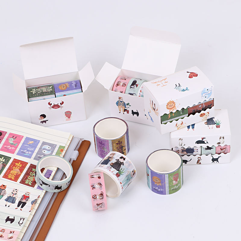 Ins Hot Penjualan Kustom Buku Pegangan Kawaii Washi Tape Gaya Retro Warna Lucu <span class=keywords><strong>Kucing</strong></span> Dicetak Dekorasi Foto Album Diary Washi Tape set