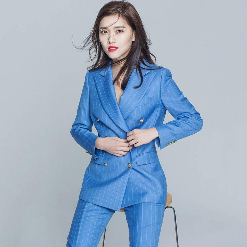 Women's suit 2019 small suit jacket striped English style nine-point pencil pants casual professional suit
