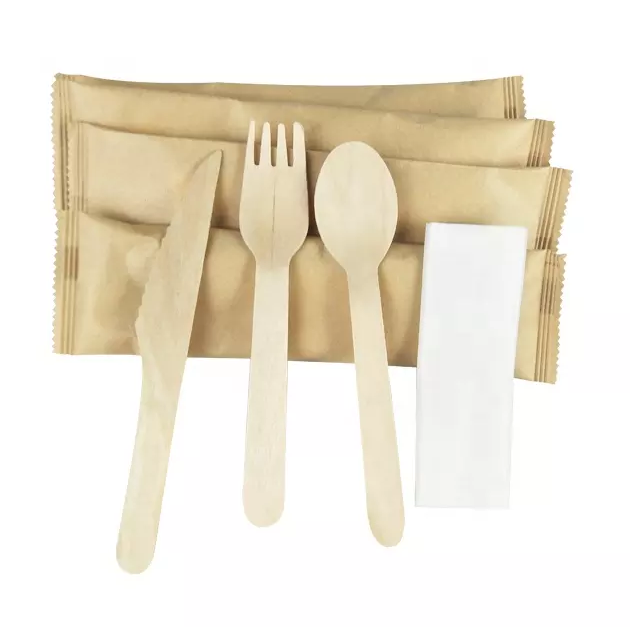 Wood [ Travel Cutlery Set ] Wooden Cutlery Set Disposable Compostable Food Grade Wood Utensils Travel Cutlery Set 16cm Wooden Cutlery Kit